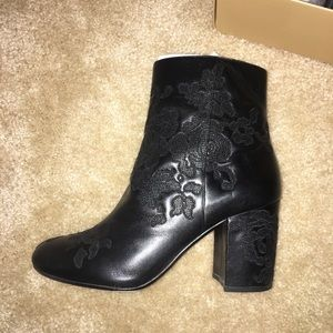Micheal Kors Embossed Leather Ankle Boots